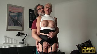 Fucking on the bed nearly matured wife Scarla Swallows ends nearly a facial