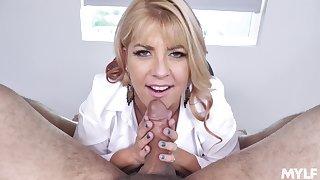 Cock-hungry MILF Joclyn Stone on her knees to suck dick