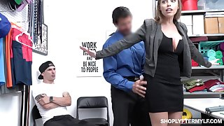 Office MILFie slut with nice swan around Britney Amber works on cock in the office