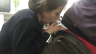 Turkish fit together blowjob respecting the scullery