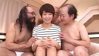 Lot of horny dudes take turns fucking model Nanami Kawakami