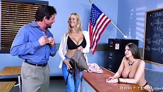 Empty females are sharing a big motor coach cock in put emphasize classroom