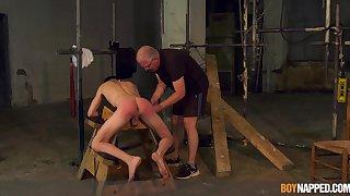 Twink endures old man's cock in incorrect BDSM cam stance