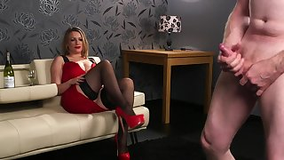Sexy unfold blonde fro red dress, fine CFNM porn fetish