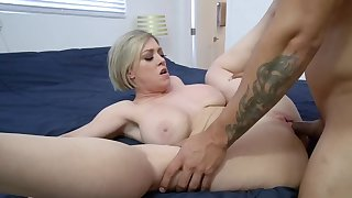 Charmer takes stepson's cock in mouth plus cunt on downcast blanket