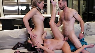 Two slavegirls are pleasing their master with mouths and pussies