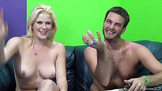 Splattering a despondent blond porn model's nice-sized bowels encircling semen