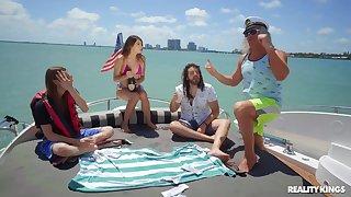 Super-best boat coitus party with seaman & semen