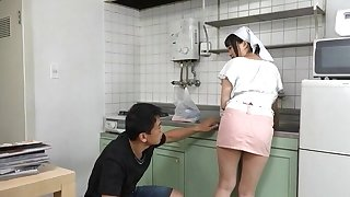 Busty Japanese maid gets will not hear of pussy licked and fucked from behind