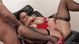 Privileged porn with a penurious mature avid for cock